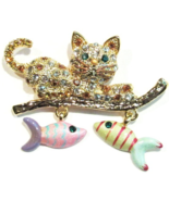 Cat Pin Brooch Dangling Fish Charms Crystal Gold Tone Metal - £14.45 GBP