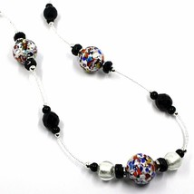 NECKLACE MACULATE LONG MULTI COLOR MURANO GLASS SPHERE, SILVER LEAF, ITALY MADE image 2