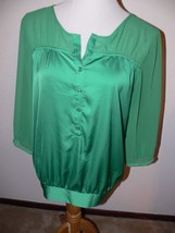 New York & Co. Green 3/4 Sleeve Shirt Blouse Top Women's Size M mm - $12.99