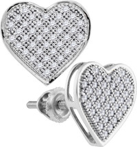 10kt White Gold Round Diamond Heart Cluster Screwback Fashion Earrings 1... - $202.73