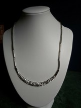 CRESCENT SHAPE SWAROVSKI 100 CRYSTALS SILVER-PLATED NECKLACE—Hallmarked ... - $24.01