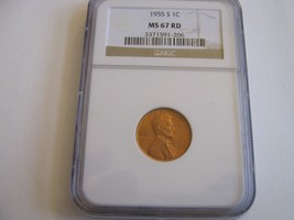 1955-S , Lincoln Cent , NGC , MS 67 RD - $173.16