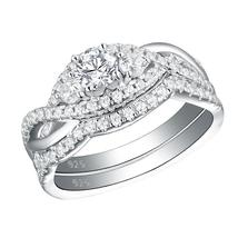 Solid 925 Sterling Silver Classic Wedding Rings Set image 2