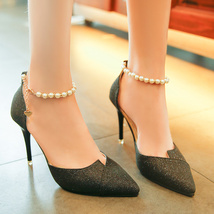 pp375 elegant pearl strappy pumps, nubuck leather, US Size 4-9,black - $38.80