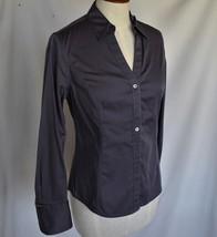 CALVIN KLEIN Top Blouse S Gray Button Down Long Sleeve Cotton Blend MACH... - $12.00
