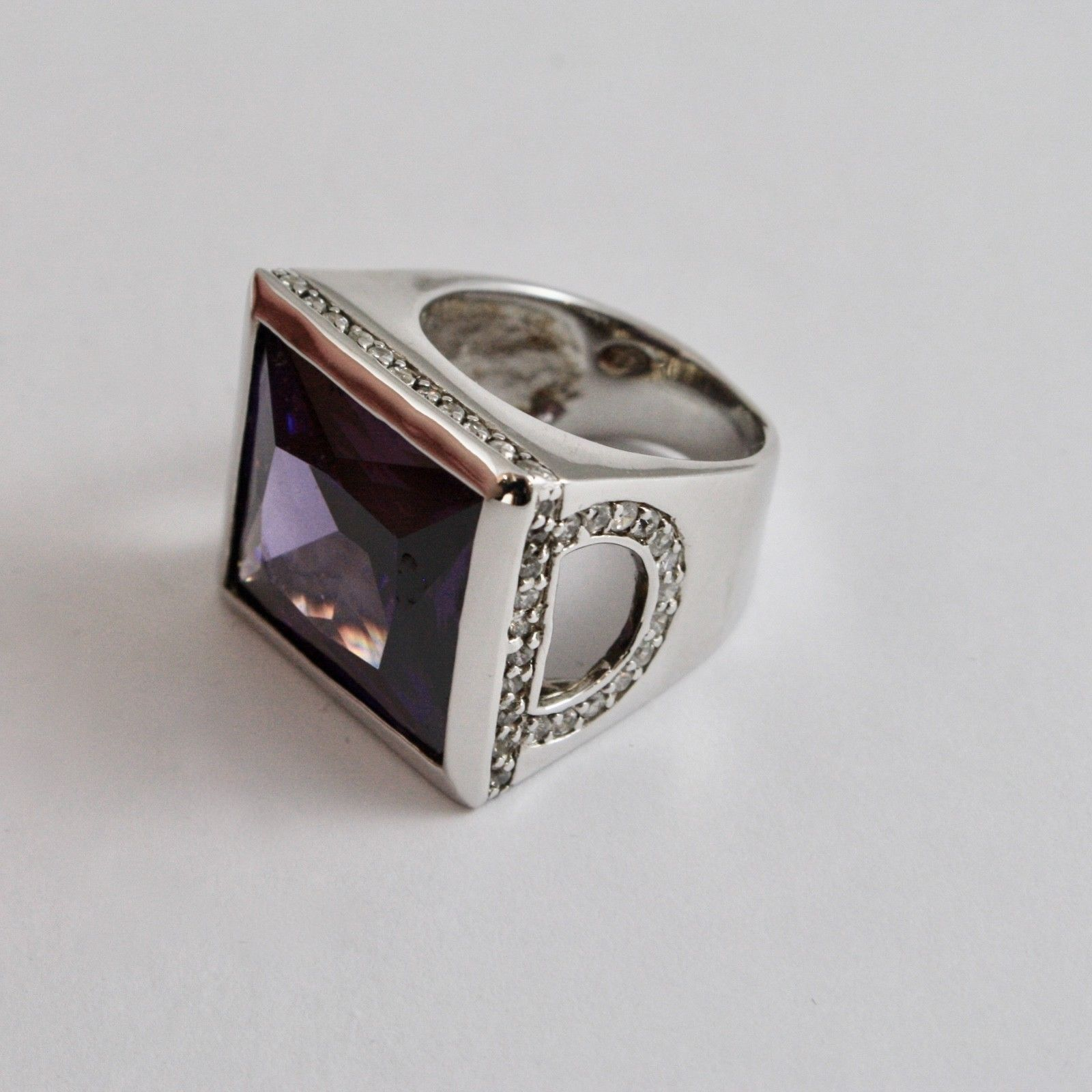925 SILVER RING RHODIUM WITH WITH CRYSTAL PURPLE AND ZIRCON TRANSPARENT