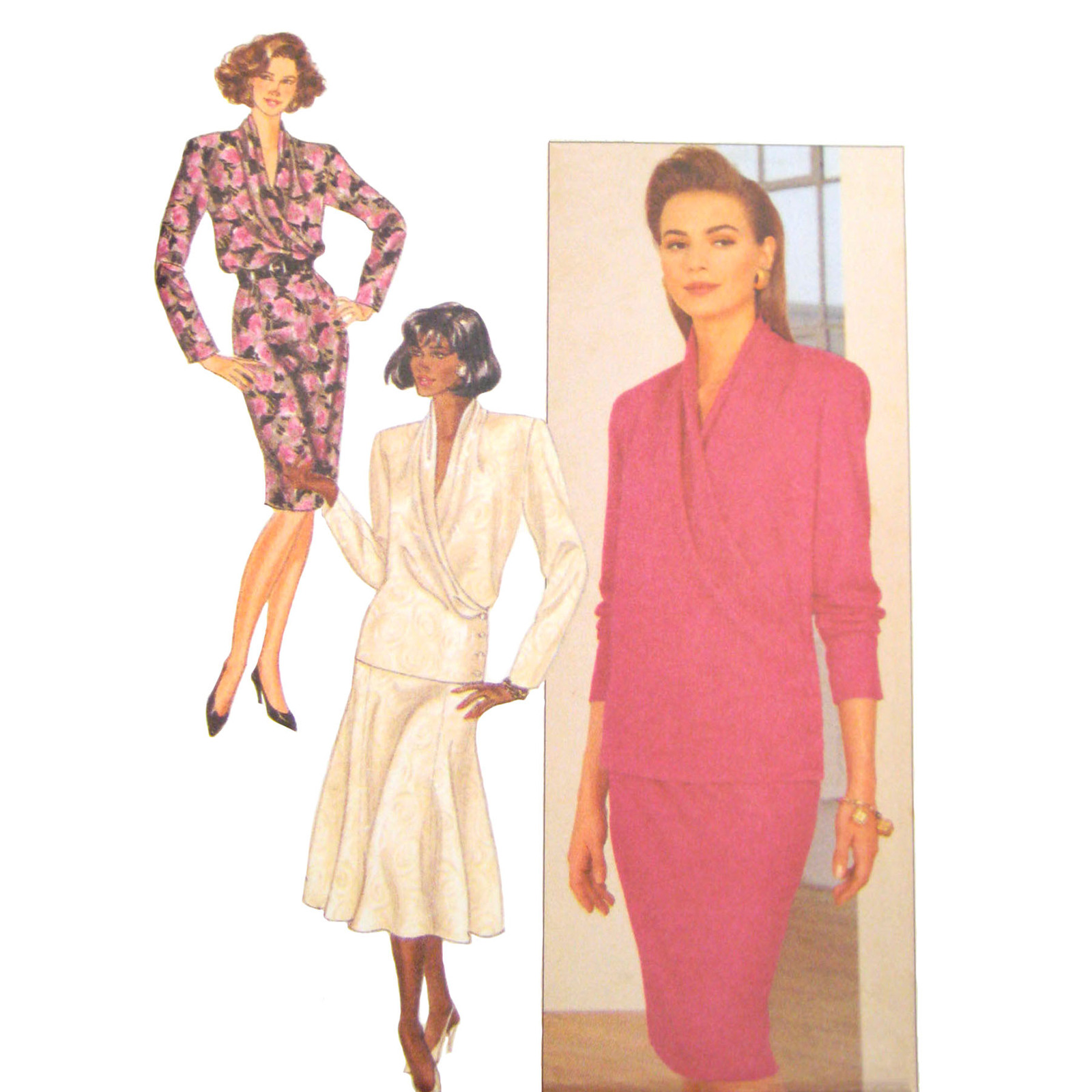 Primary image for Butterick Sewing Pattern 4365 Misses Surplice Blouse Slim Flared Skirt 14 16 18