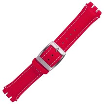 Generic Chronograph Swatch® Watch Band Red 22mm Stitched fits 19mm Notch... - $19.75