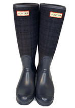 Hunter Boots Tall Blue Plaid Flannel Upper Calf Womens Sz 6M/7F Allayna Lined - $79.95