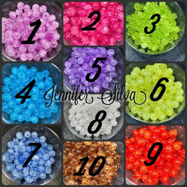 MIXED Crackle Acrylic Spacer Ball Beads 12mm (50 pcs)