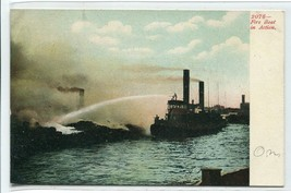 Fire Tug Boat Ship In Action 1907c postcard - $5.89