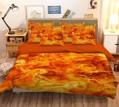 3D Orange Flame 26 Bed Pillowcases Quilt Duvet Single Queen King US Summer - $102.84+
