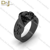 Black Diamond Skull Engagement Ring Unisex Anchor Skull Gothic Wedding R... - €163,26 EUR+