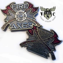 "FIRE AND AXES PRAYER  2"" 3D CHALLENGE COIN - $18.99"