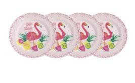 """Flamingo Tropical Melamine Dinner Plates 10.5"""" Lunch Appetizer Dessert s... - $24.63"""