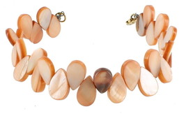 VINTAGE PEACH MOP MOTHER OF PEARL TEAR DROP BEADS WIRE HANDMADE BRACELET... - $32.39