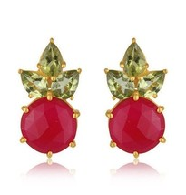 Pink Chalcedony Peridot 18K Gold Plated 925 Sterling Silver Earrings Jew... - $44.55
