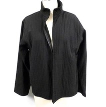 Eileen Fisher Cotton Blend Black Textured Zip Front Jacket S Excellent - $101.09
