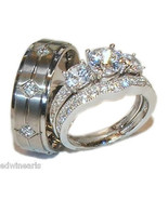 His & Hers 3 Stone Cz Wedding Engagement Ring Set Sterling Silver & Tita... - $59.99