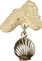 14K Gold Filled Baby Badge with Shell Charm and Baby Boots Pin 1 X 5/8 inch - $103.43