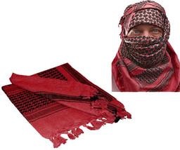Red & Black Shemagh Tactical Desert Keffiyeh Arab Heavyweight Scarf - $11.99