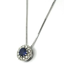 18K WHITE GOLD NECKLACE, FLOWER PENDANT, ROUND SAPPHIRE WITH DIAMONDS FRAME image 2