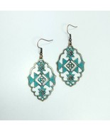 E0204 Antique Patina Tone Pointed Oval Aztec Inca Design Drop Dangle Ear... - $7.99