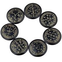 Rockcloud Healing Crystal 7pcs Engraved Magic Circle Spiritual Powers Round - $40.42