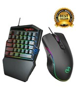 Portable LED One Hand Gaming 35 Keyboard + USB Wired Mouse for PC/ Xbox ... - $50.47