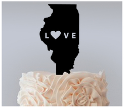 Wedding,Birthday Cake topper,Cupcake topper,silhouette I Love Lllinois : 11 pcs - $20.00