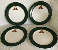 "Sakura Holiday Abundance Lot of (4) Green Dinner Plates, 10 3/4"" Hallmar... - $34.64"
