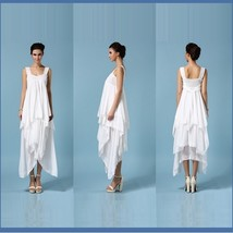 Bohemian Princess Chiffon Wedding Veil Gown, Lace Trim Layered Asymmetrical Hem  image 3