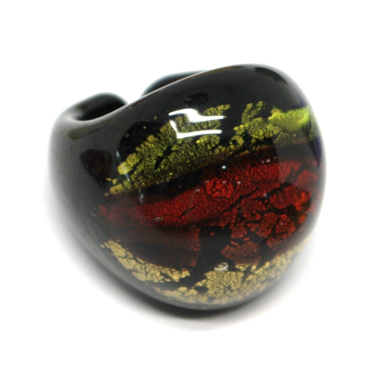 Ring Antica Murrina, Murano Glass, Black, Green, Red, Yellow, Band