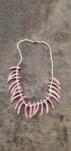 Vintage 80'S Light Purple Beaded Spike Shell Choker Necklace - $25.00