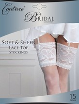 Strümpfe Couture Weiß Damen Braut luxuriöse, tiefe Spitzenborte Weich halterlose - $14.23