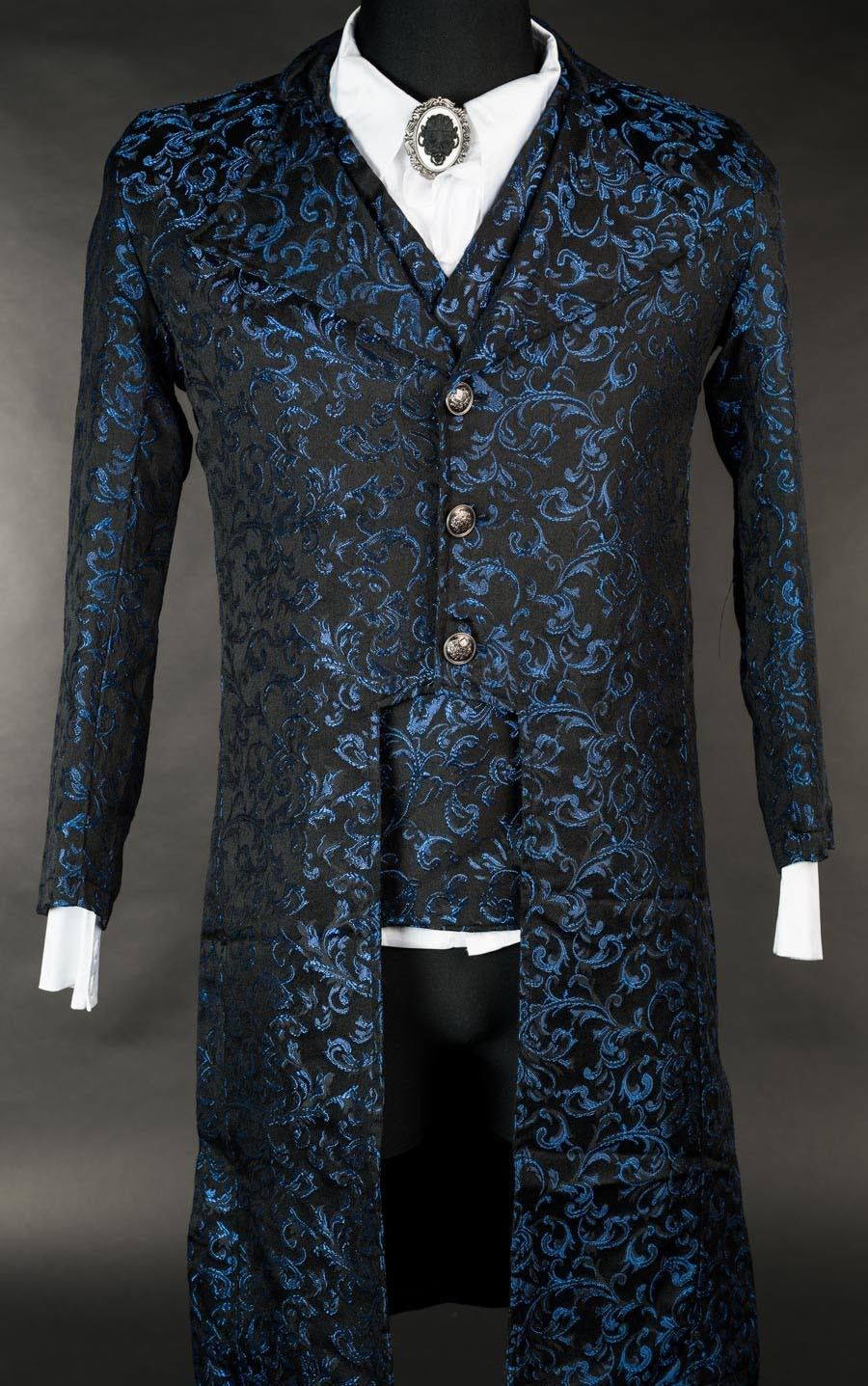 NWT Men's Black Blue Brocade Victorian Goth Vampire Tailcoat Suit Jacket