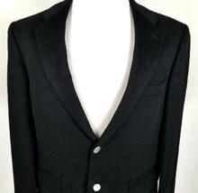 PBM Cashmere Blazer Mens Size 40 Regular Two Button Black + Silver Tone ... - $40.54