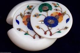 Marble Coaster Set Kitchen Accessories Marquetry Pietra Dura Home Decor Gifts - $242.98