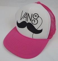 Pink & White Moustache Vans Mesh Snapback Trucker Hat - $19.99
