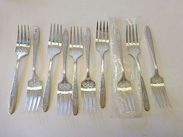 10 Oneida Community 1921 GROSVENOR  Silverplate Salad Cake Fork FANCY NO... - $39.59