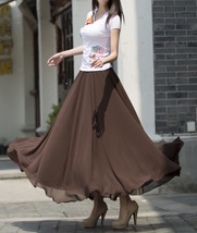 Women Chiffon Maxi Skirt Black White Brown Maxi Skirts Wedding Chiffon Skirt image 5