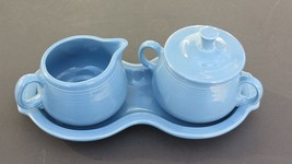 Fiesta FiestaWare Periwinkle Blue Cream & Sugar & Figure 8 Tray 4 piece ... - $38.61