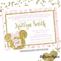 Minnie Mouse Pink Gold Glitter Baby Shower Invitation Personalized Custom - £7.72 GBP