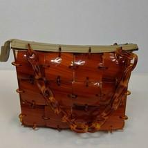 Vintage Meyer's Mod Handbag Purse Brown Plastic Square Panels & Rings Bag - $50.00