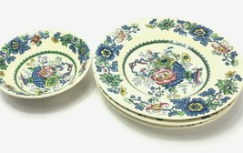 """5 Franciscan Strathmore 4, 9"""" Bowls 1, 6"""" Bowl Blue Basket Red Yellow Flowers - $44.54"""