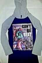 Marvels Boys Pullover Shirt With Hoodie Size 4 Blue Heroes Long Sleeves  - $14.84
