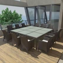 vidaXL Outdoor Dining Set 25 Piece Poly Rattan Wicker Black Garden Furni... - $1,005.99