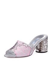 Prada Jacquard Cylinder Slide Sandals Rosa Size 38.5 - $544.50