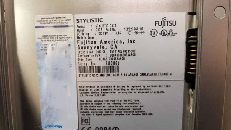 "Fujitsu Stylistic Q572 10.1"" Win 10 Tablet W/ Point of Sale Accessori"