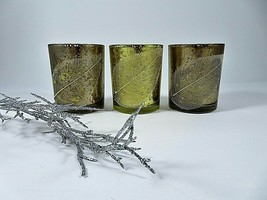 Ganz Mercury Glass Votive Tealight Holders Applied Leaf Set Of 3 Copper Gold - $25.60